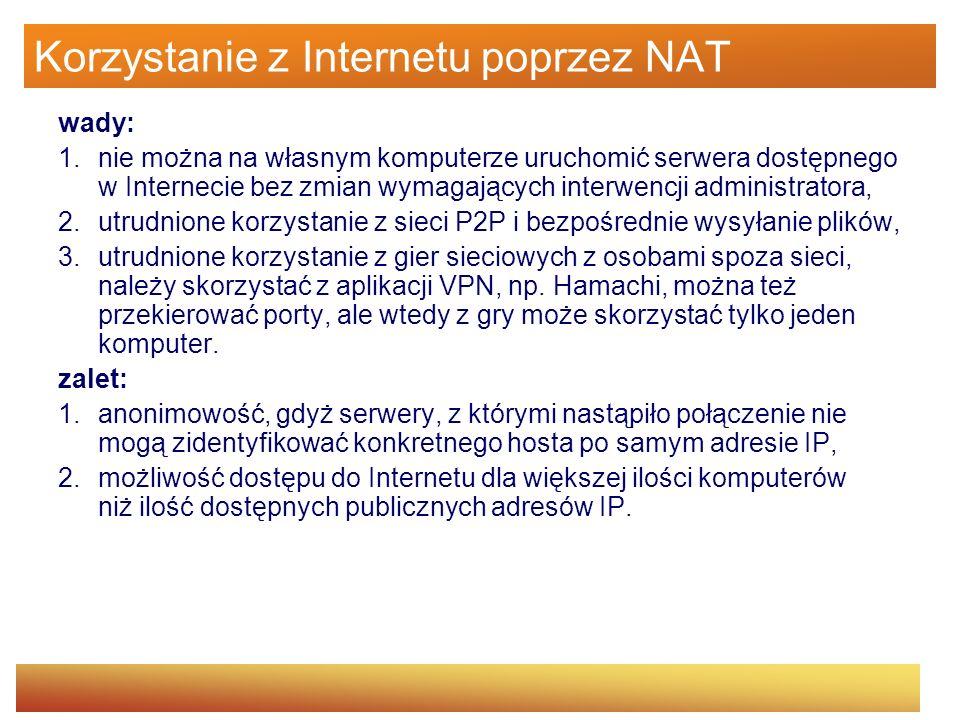 Korzystanie z Internetu poprzez NAT