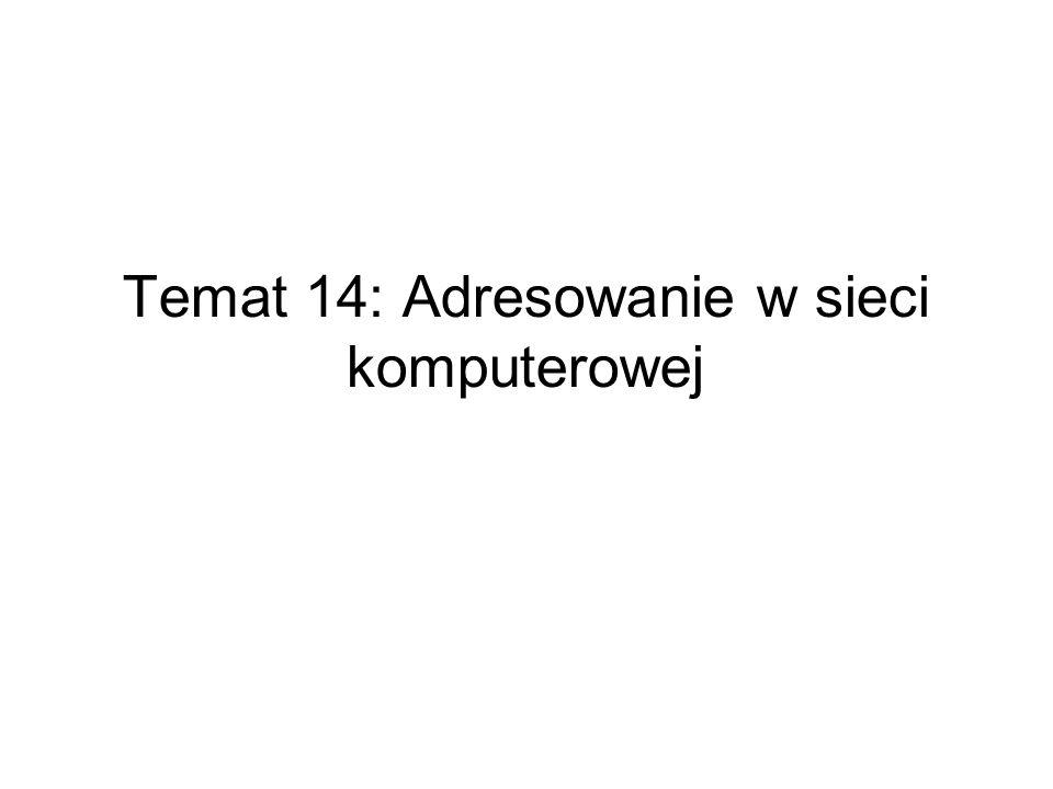 Temat 14: Adresowanie w sieci komputerowej