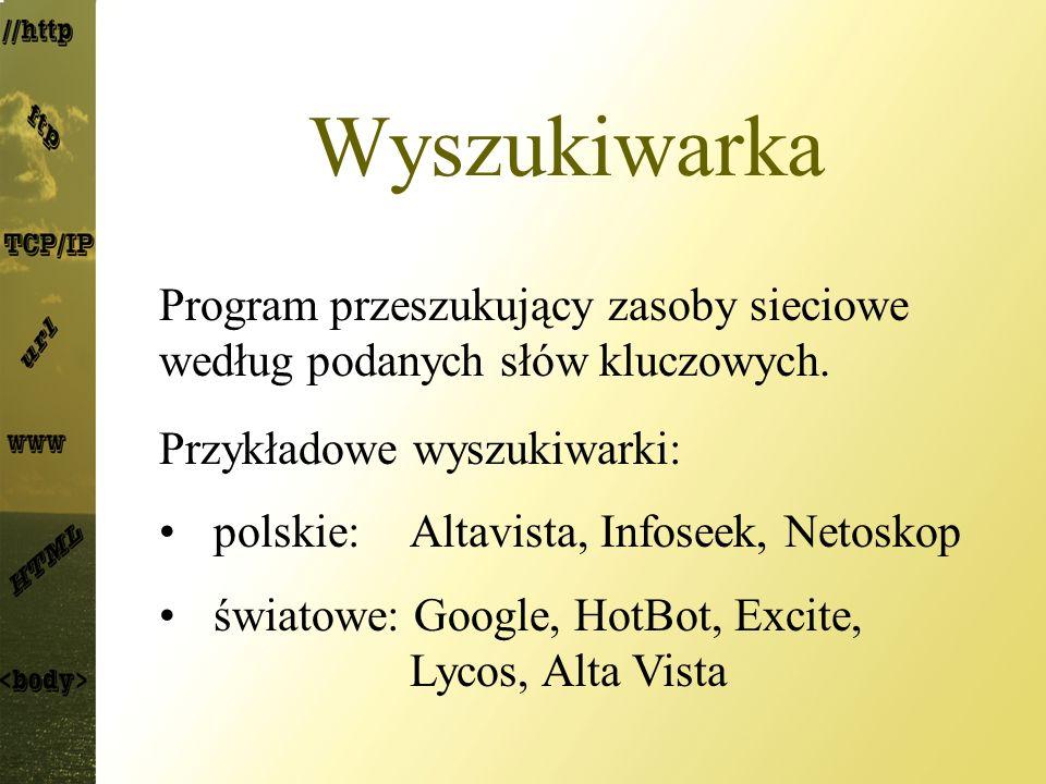 Wyszukiwarka Program przeszukujący zasoby sieciowe według podanych słów kluczowych. Przykładowe wyszukiwarki: