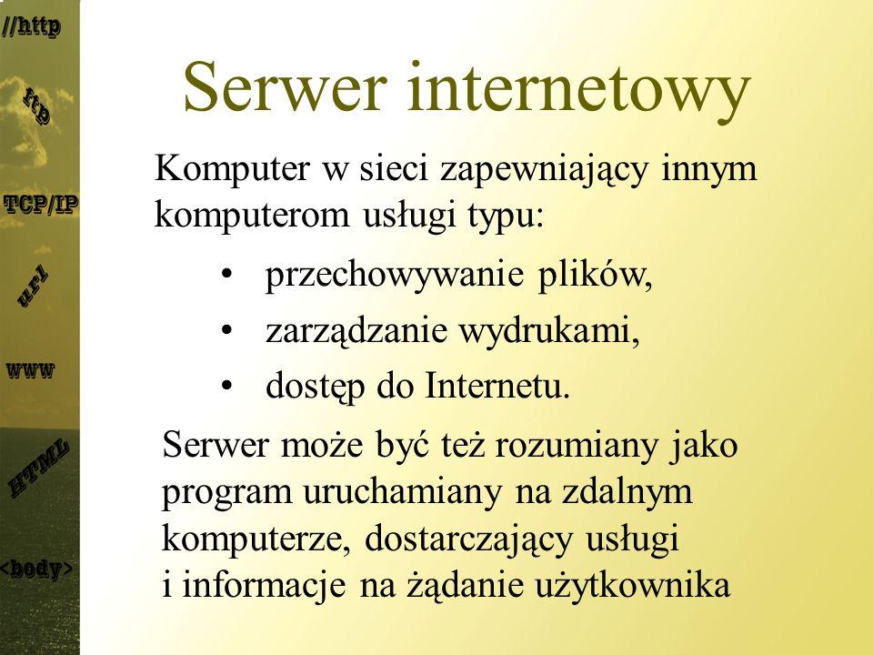 Serwer internetowy Komputer w sieci zapewniający innym komputerom usługi typu: przechowywanie plików,