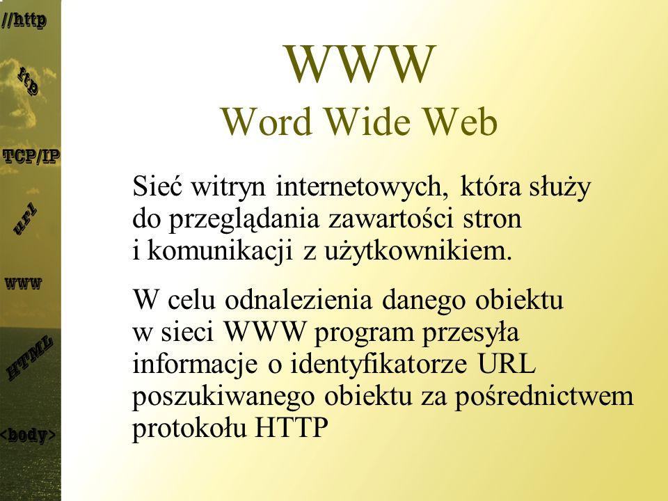 WWW Word Wide Web Sieć witryn internetowych, która służy do przeglądania zawartości stron i komunikacji z użytkownikiem.