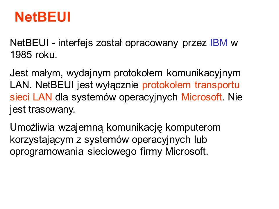 NetBEUI NetBEUI - interfejs został opracowany przez IBM w 1985 roku.