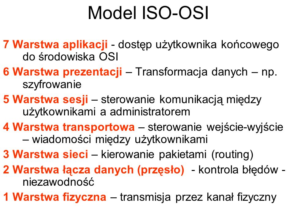 Model ISO-OSI 7 Warstwa aplikacji - dostęp użytkownika końcowego do środowiska OSI. 6 Warstwa prezentacji – Transformacja danych – np. szyfrowanie.
