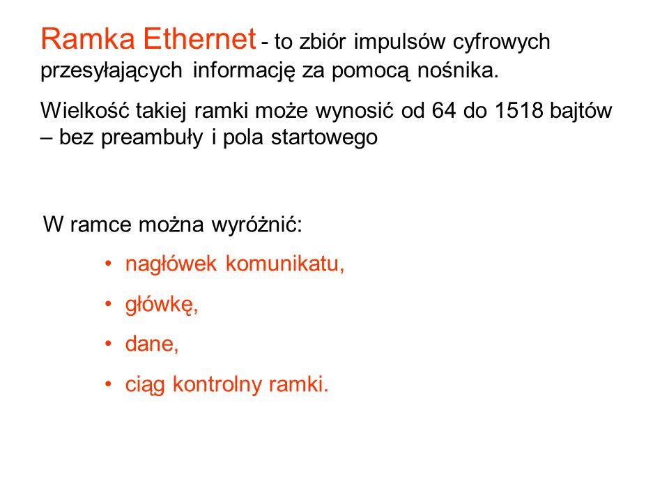 Ramka Ethernet - to zbiór impulsów cyfrowych przesyłających informację za pomocą nośnika.