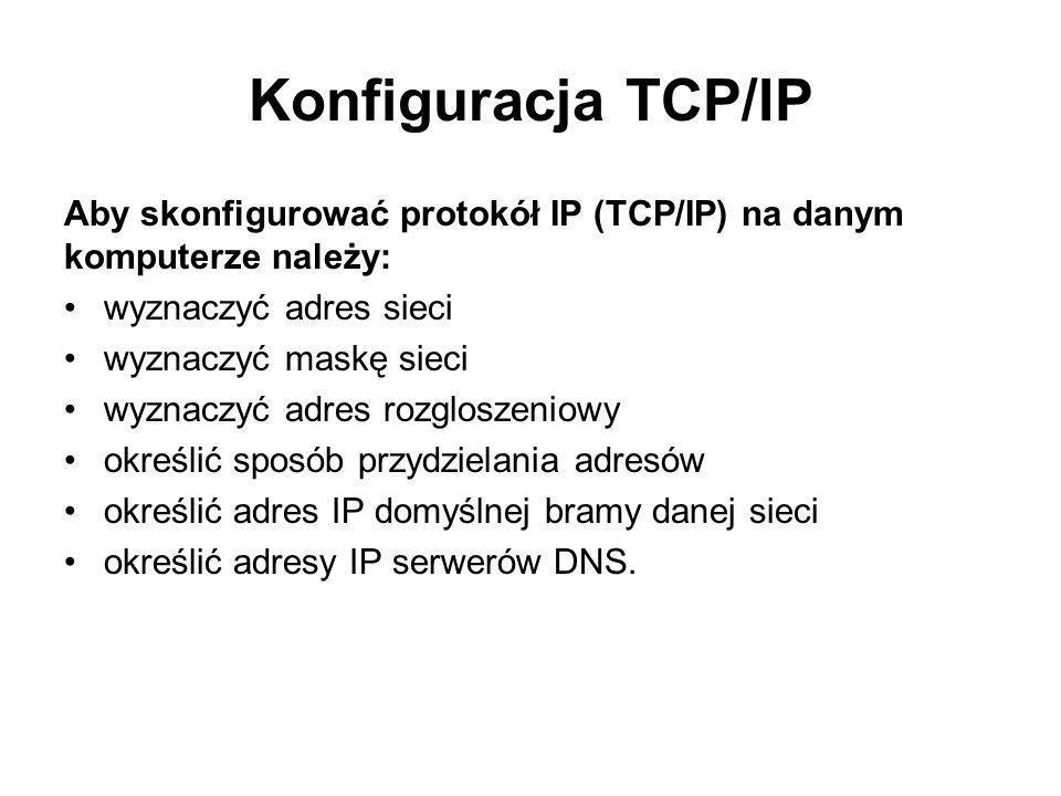 Konfiguracja TCP/IP Aby skonfigurować protokół IP (TCP/IP) na danym komputerze należy: wyznaczyć adres sieci.