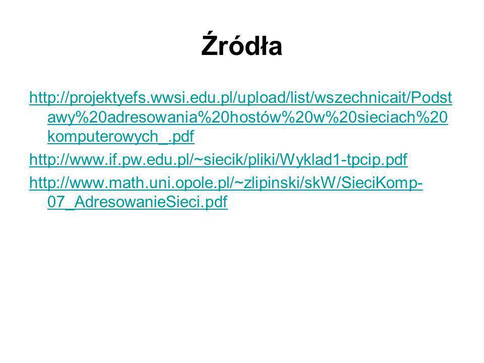 Źródła http://projektyefs.wwsi.edu.pl/upload/list/wszechnicait/Podstawy%20adresowania%20hostów%20w%20sieciach%20komputerowych_.pdf.