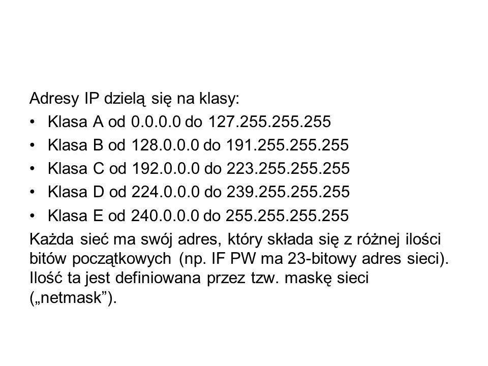 Adresy IP dzielą się na klasy: