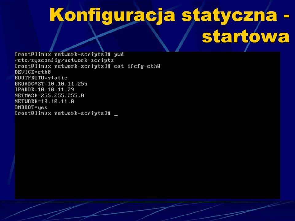 Konfiguracja statyczna - startowa