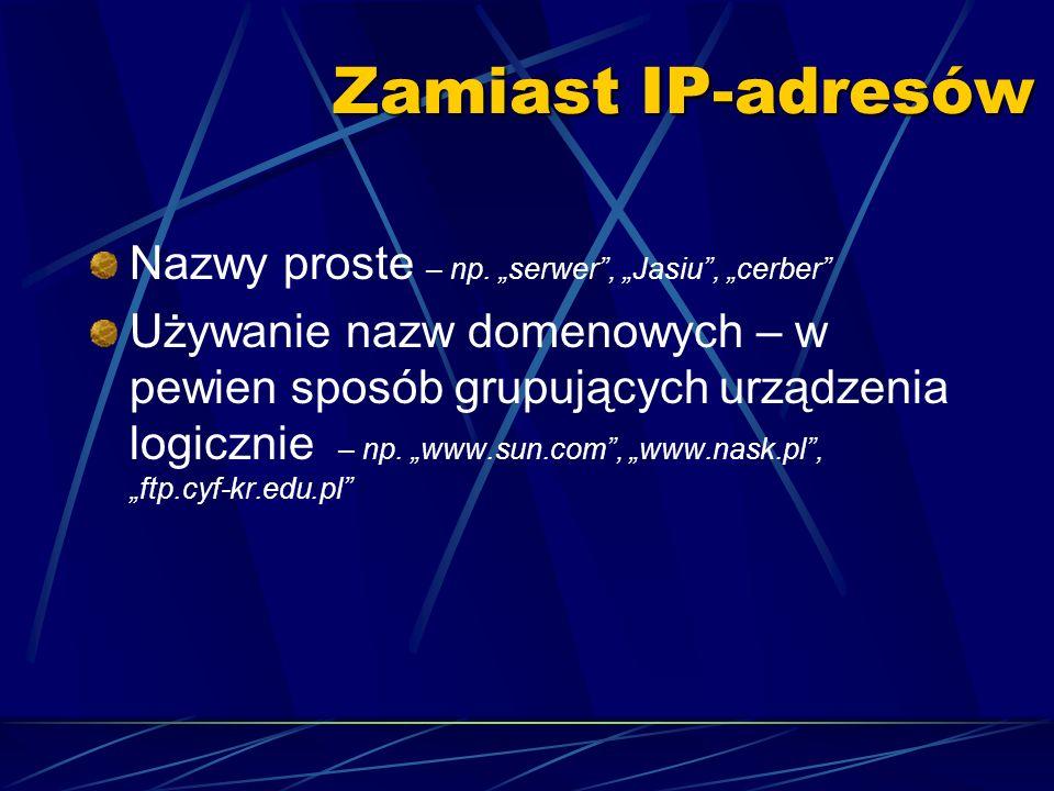 """Zamiast IP-adresów Nazwy proste – np. """"serwer , """"Jasiu , """"cerber"""