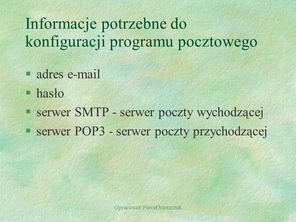 Informacje potrzebne do konfiguracji programu pocztowego
