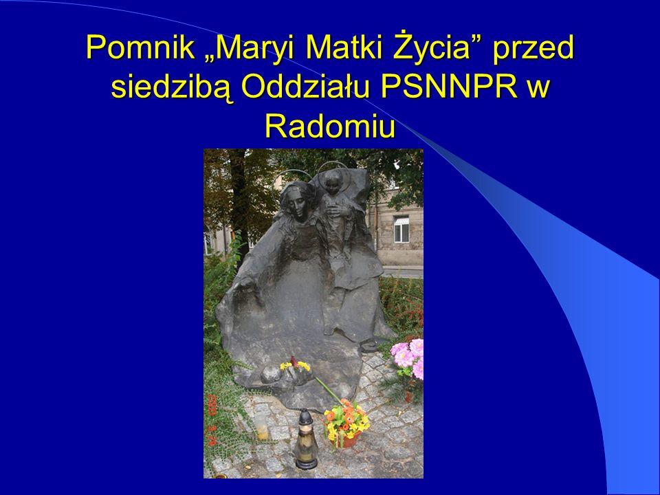 """Pomnik """"Maryi Matki Życia przed siedzibą Oddziału PSNNPR w Radomiu"""