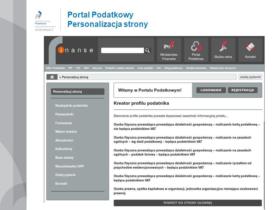 Portal Podatkowy Personalizacja strony