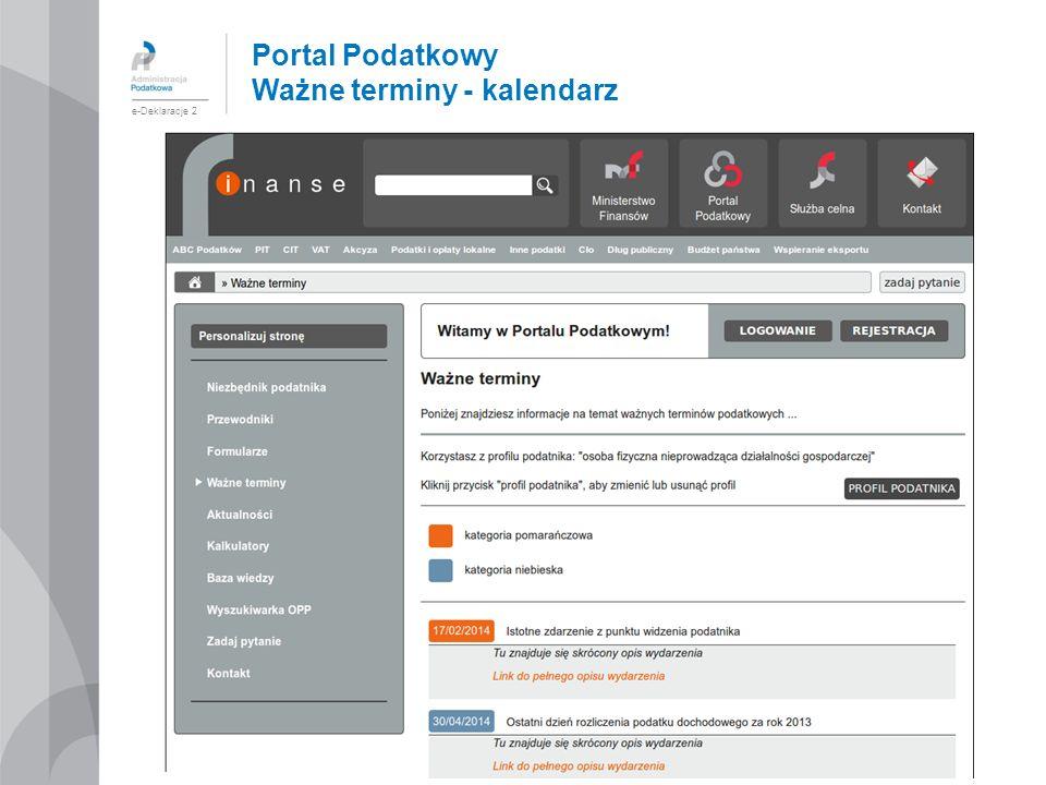 Portal Podatkowy Ważne terminy - kalendarz