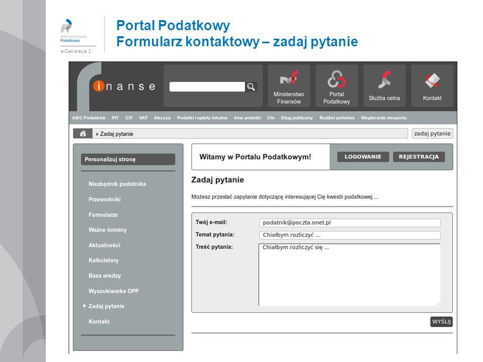 Portal Podatkowy Formularz kontaktowy – zadaj pytanie