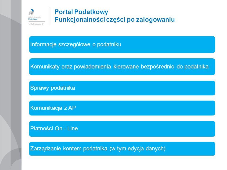 Portal Podatkowy Funkcjonalności części po zalogowaniu