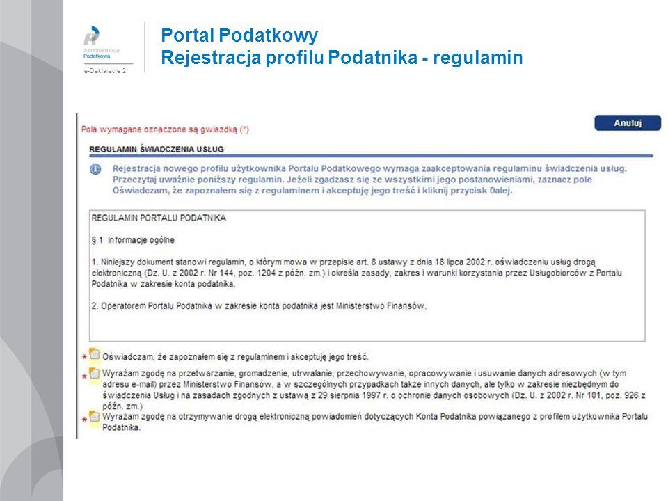 Portal Podatkowy Rejestracja profilu Podatnika - regulamin