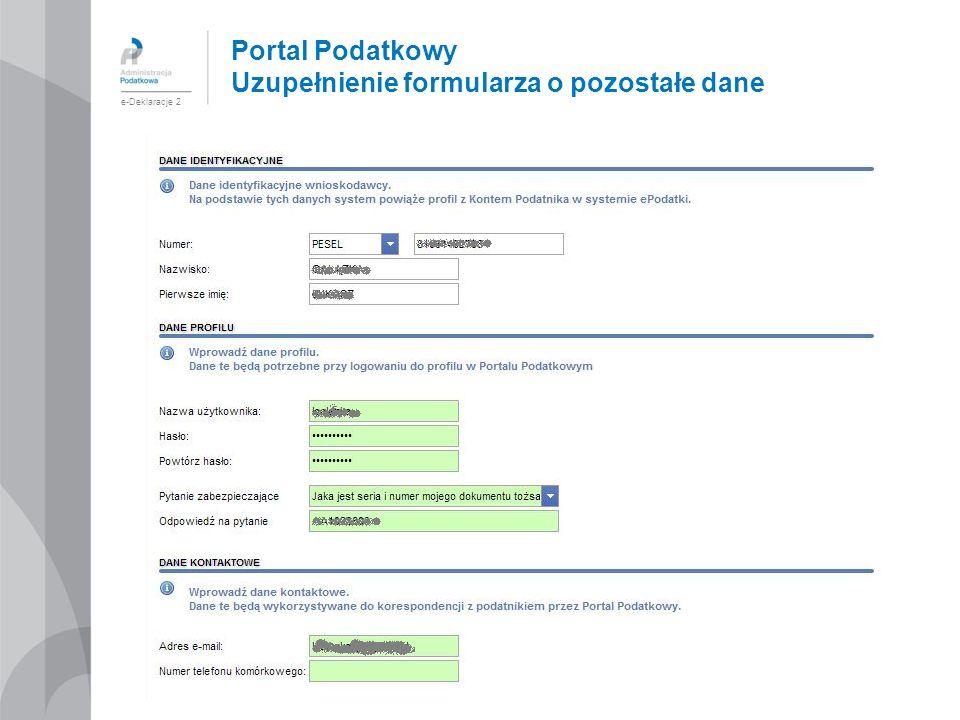 Portal Podatkowy Uzupełnienie formularza o pozostałe dane