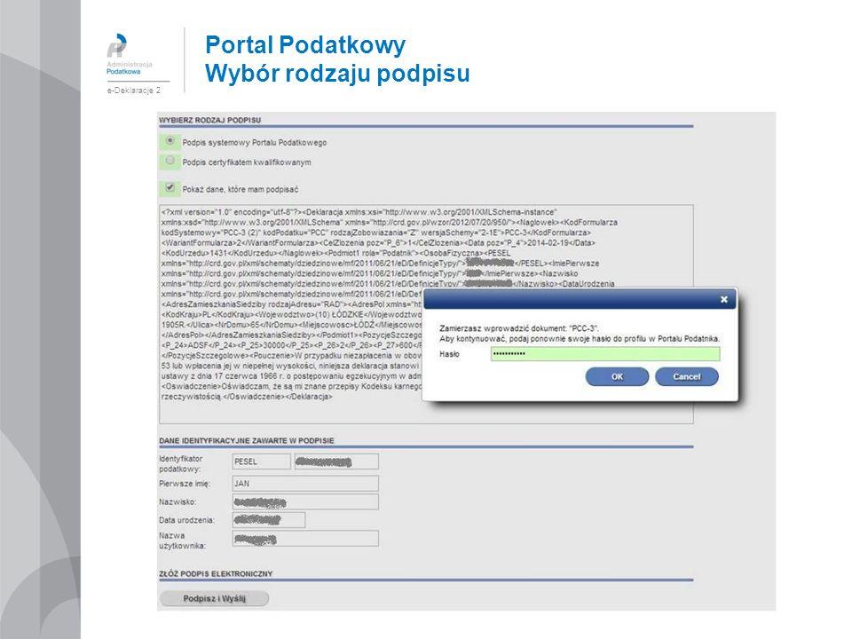 Portal Podatkowy Wybór rodzaju podpisu