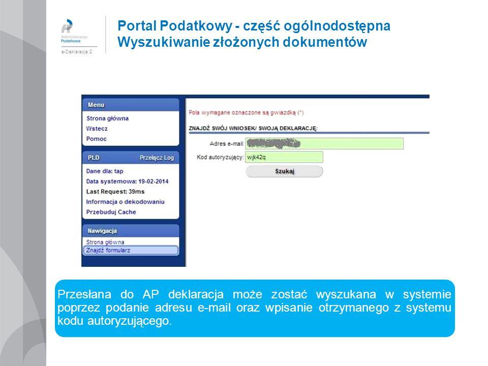 Portal Podatkowy - część ogólnodostępna Wyszukiwanie złożonych dokumentów