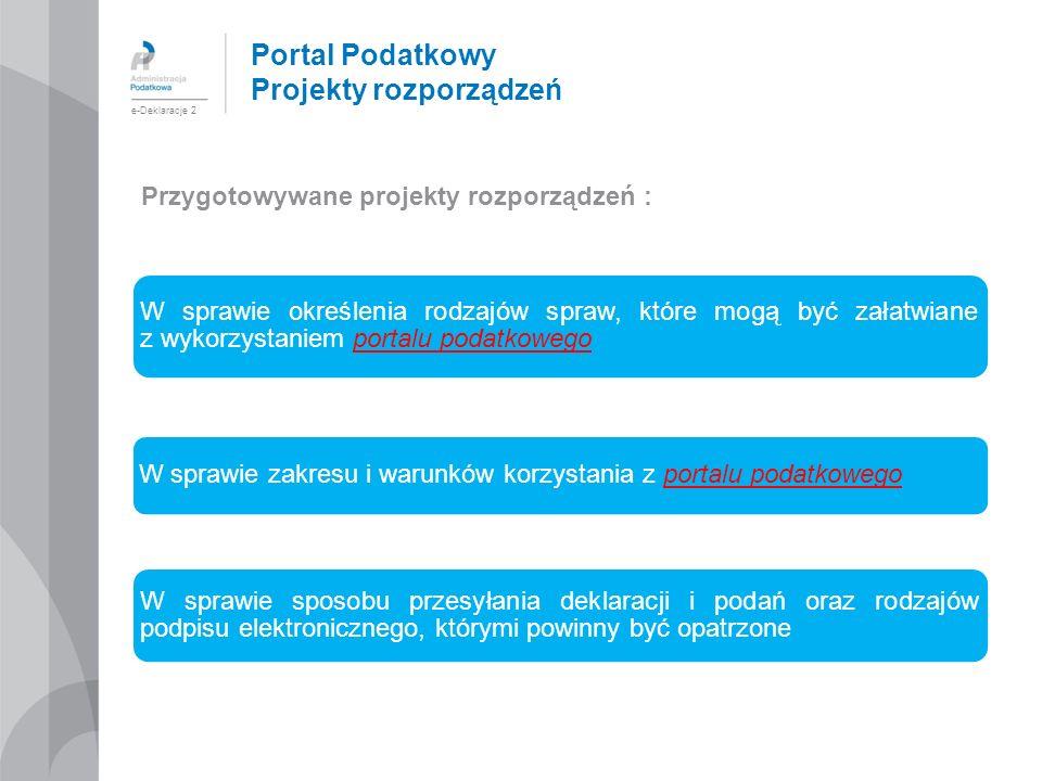 Portal Podatkowy Projekty rozporządzeń