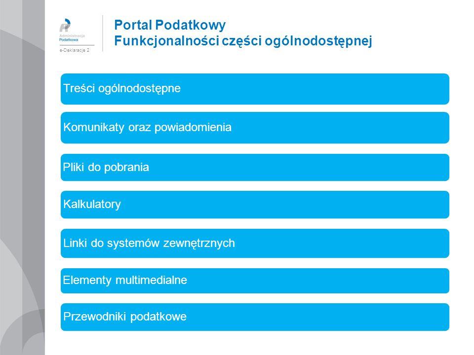 Portal Podatkowy Funkcjonalności części ogólnodostępnej