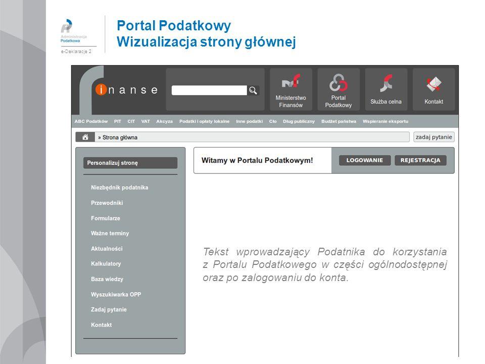 Portal Podatkowy Wizualizacja strony głównej
