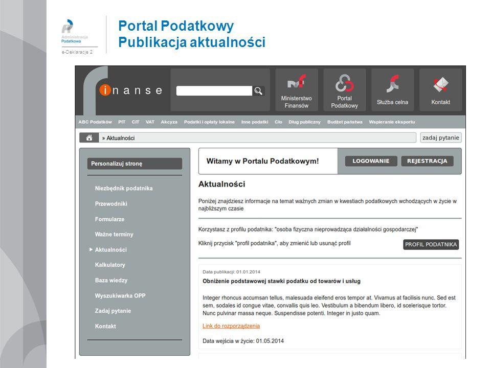 Portal Podatkowy Publikacja aktualności