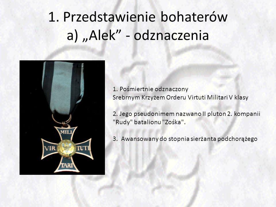 """1. Przedstawienie bohaterów a) """"Alek - odznaczenia"""