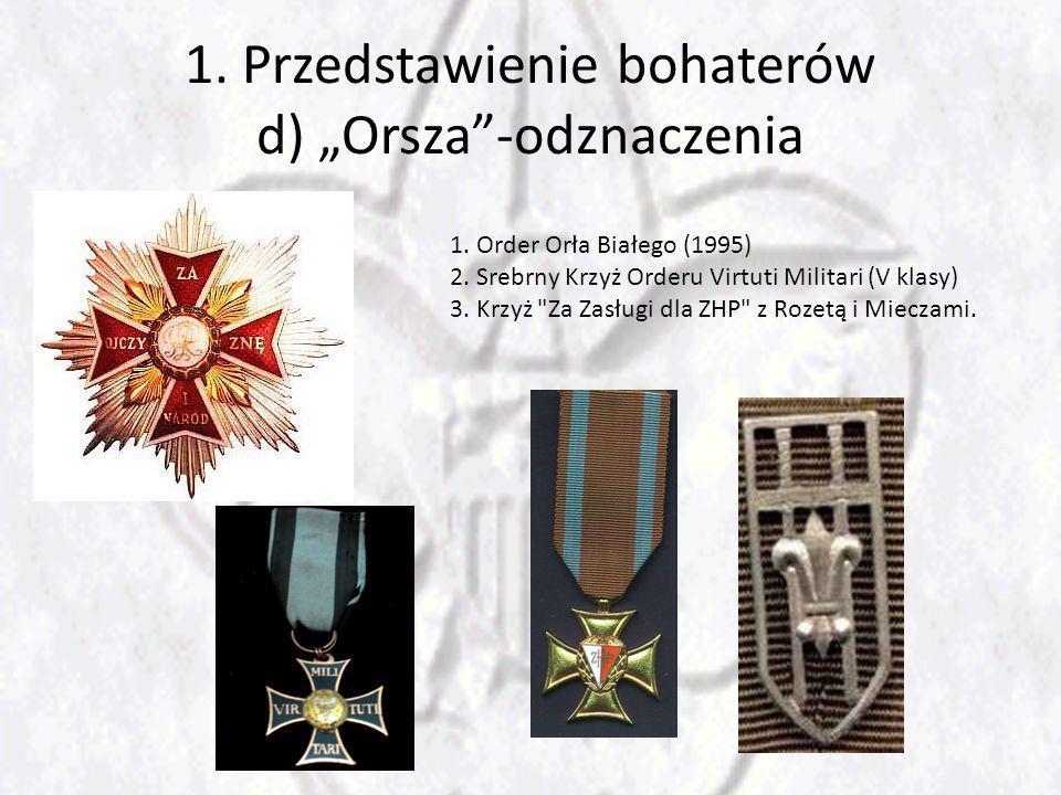 """1. Przedstawienie bohaterów d) """"Orsza -odznaczenia"""