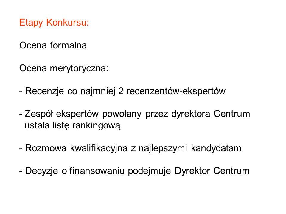 Etapy Konkursu: Ocena formalna. Ocena merytoryczna: Recenzje co najmniej 2 recenzentów-ekspertów.