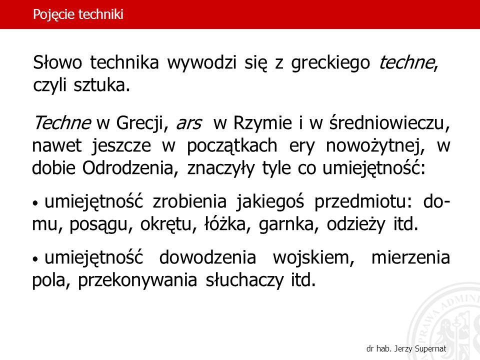 Słowo technika wywodzi się z greckiego techne, czyli sztuka.
