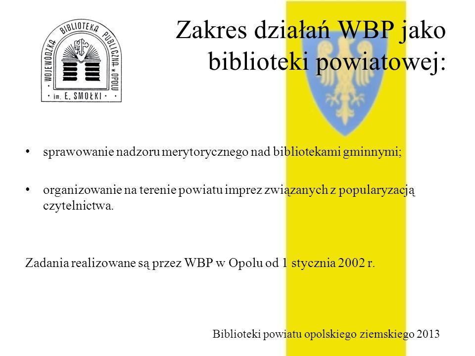 Zakres działań WBP jako biblioteki powiatowej: