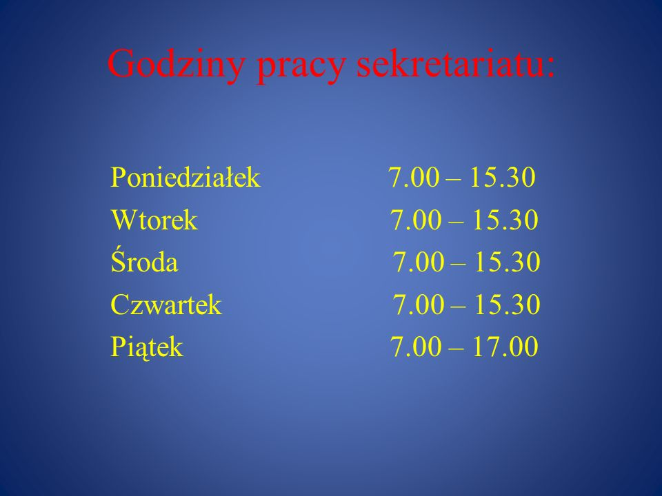 Godziny pracy sekretariatu: