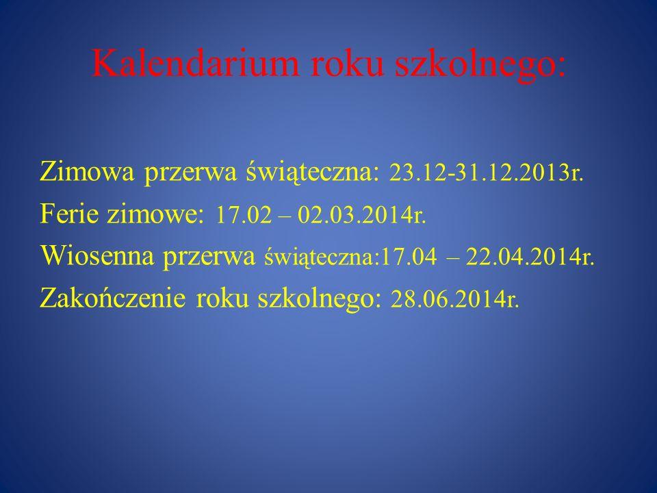 Kalendarium roku szkolnego: