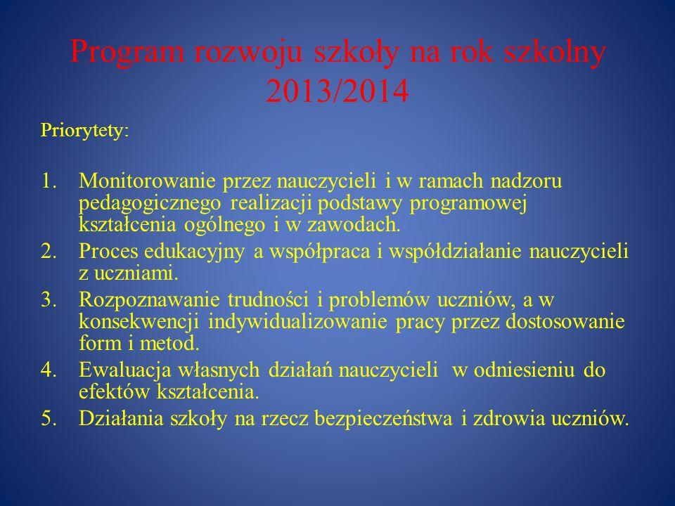 Program rozwoju szkoły na rok szkolny 2013/2014