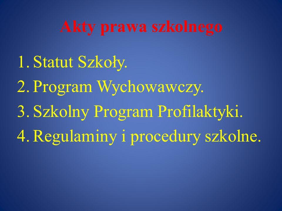 Akty prawa szkolnego Statut Szkoły. Program Wychowawczy.