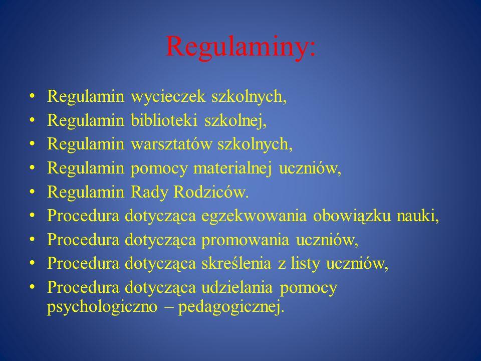 Regulaminy: Regulamin wycieczek szkolnych,