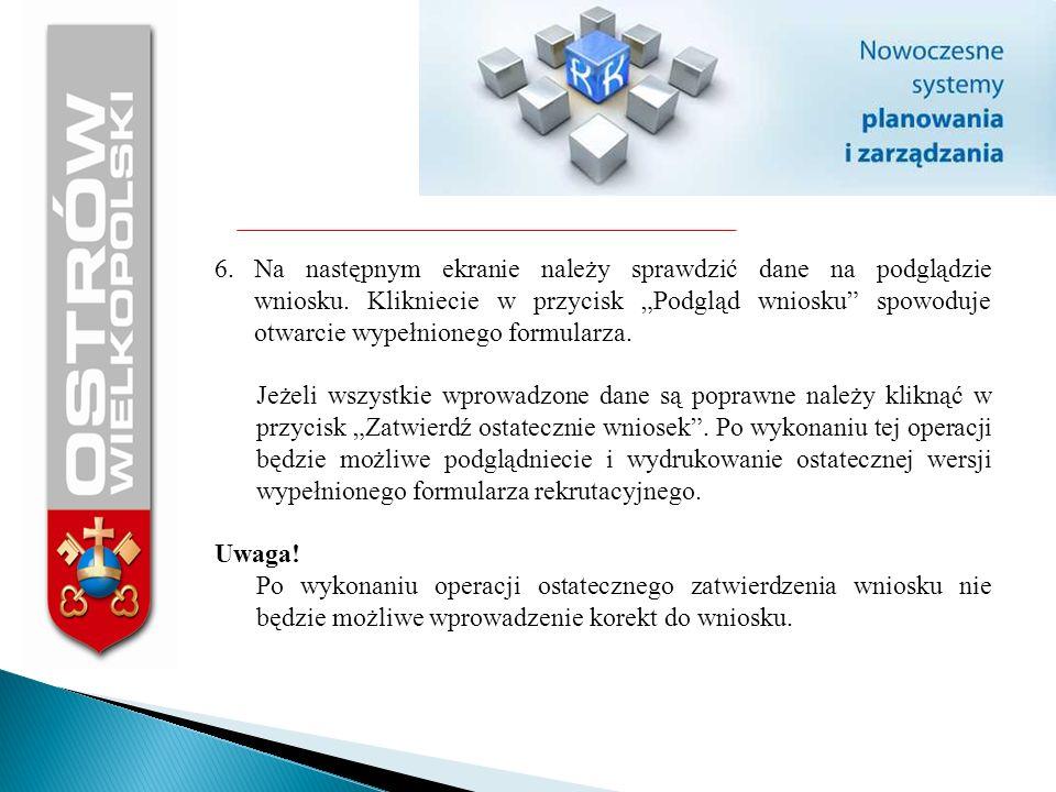6. Na następnym ekranie należy sprawdzić dane na podglądzie wniosku