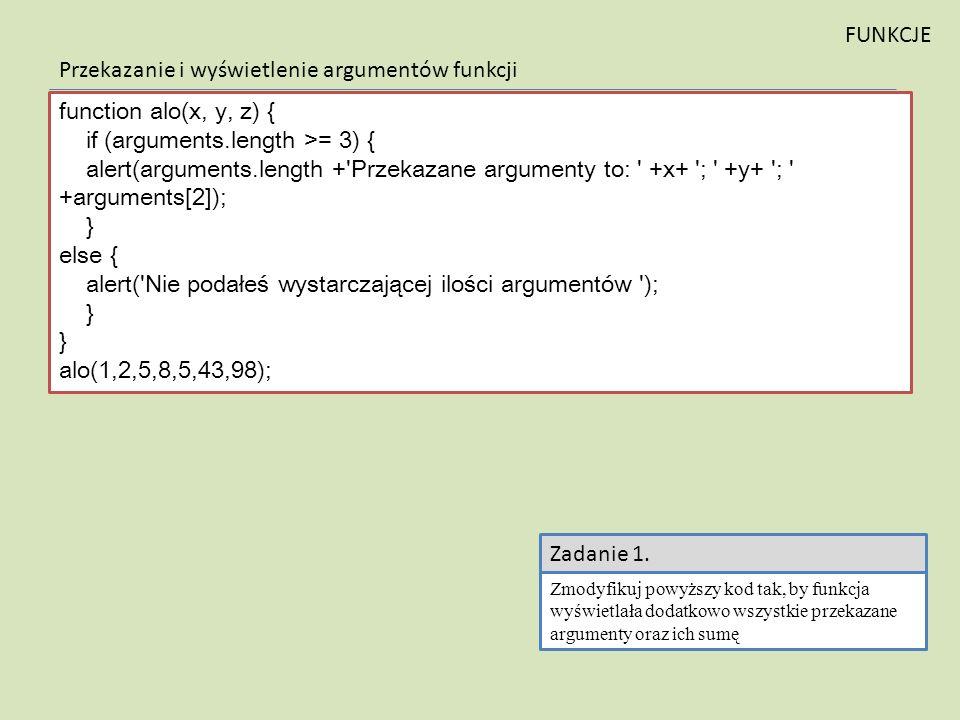 Przekazanie i wyświetlenie argumentów funkcji