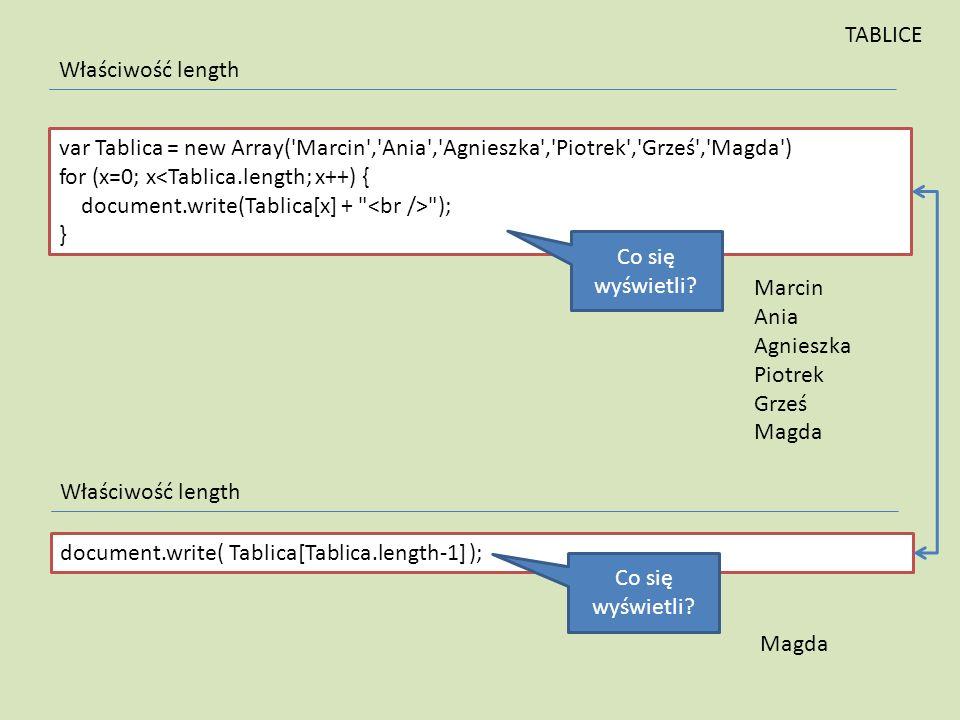 TABLICE Właściwość length. var Tablica = new Array( Marcin , Ania , Agnieszka , Piotrek , Grześ , Magda )
