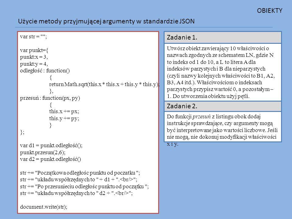 Użycie metody przyjmującej argumenty w standardzie JSON