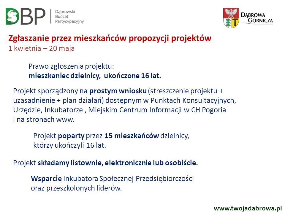 Zgłaszanie przez mieszkańców propozycji projektów 1 kwietnia – 20 maja