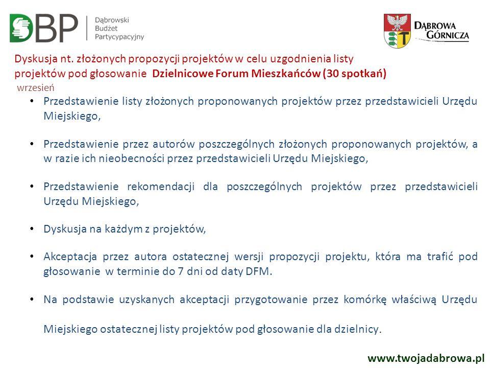 Dyskusja nt. złożonych propozycji projektów w celu uzgodnienia listy projektów pod głosowanie Dzielnicowe Forum Mieszkańców (30 spotkań) wrzesień