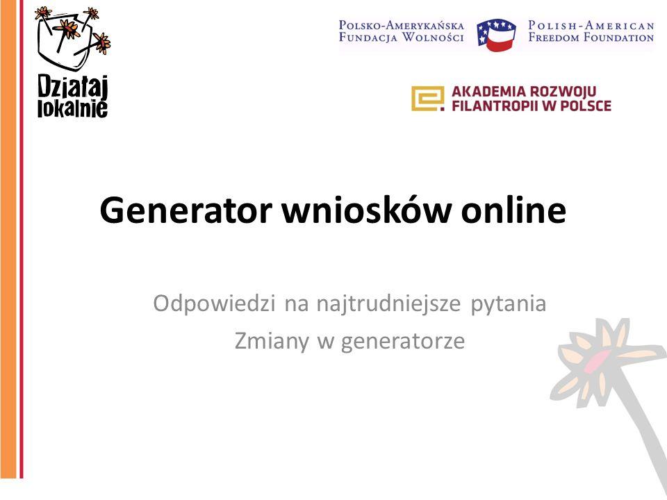 Generator wniosków online