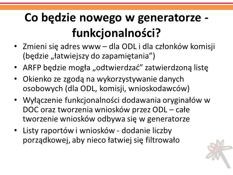 Co będzie nowego w generatorze - funkcjonalności