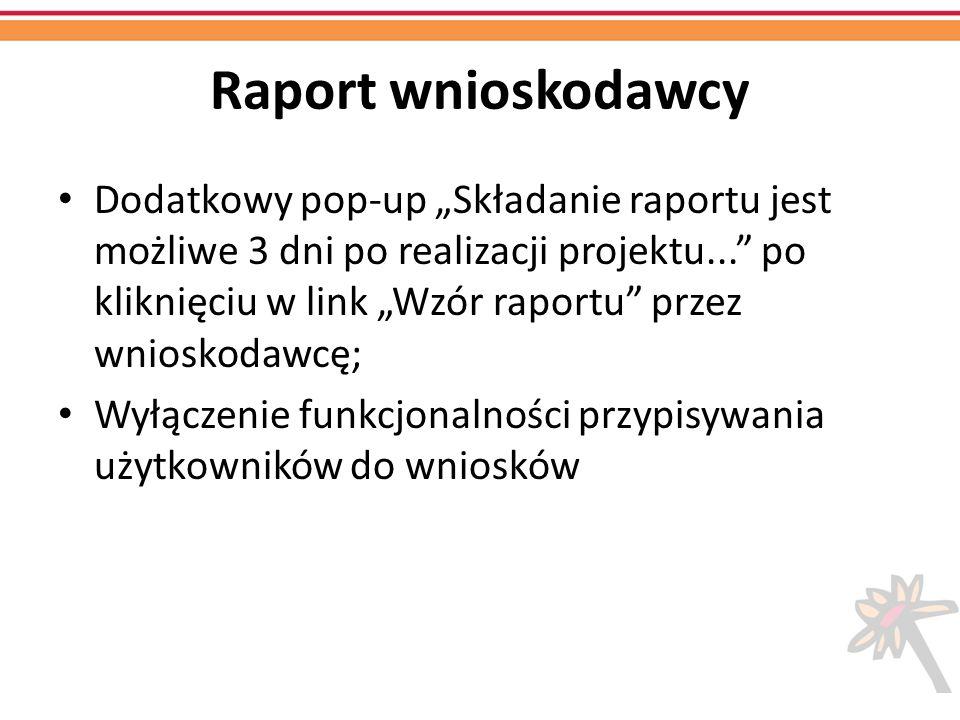 Raport wnioskodawcy