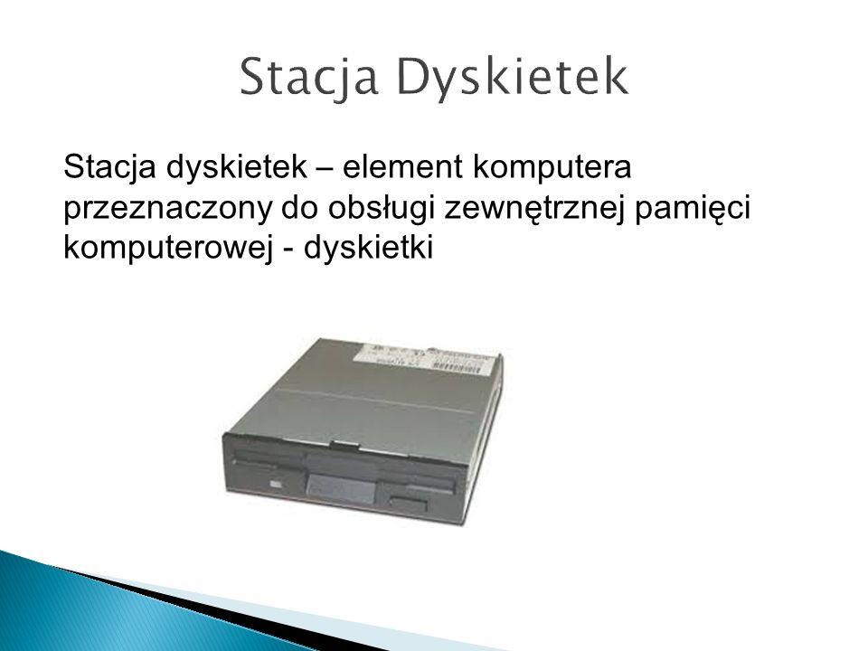 Stacja Dyskietek Stacja dyskietek – element komputera przeznaczony do obsługi zewnętrznej pamięci komputerowej - dyskietki.