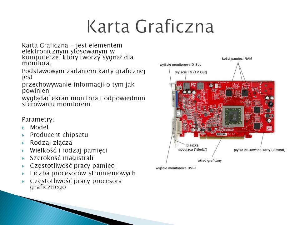 Karta Graficzna Karta Graficzna - jest elementem elektronicznym stosowanym w komputerze, który tworzy sygnał dla monitora.