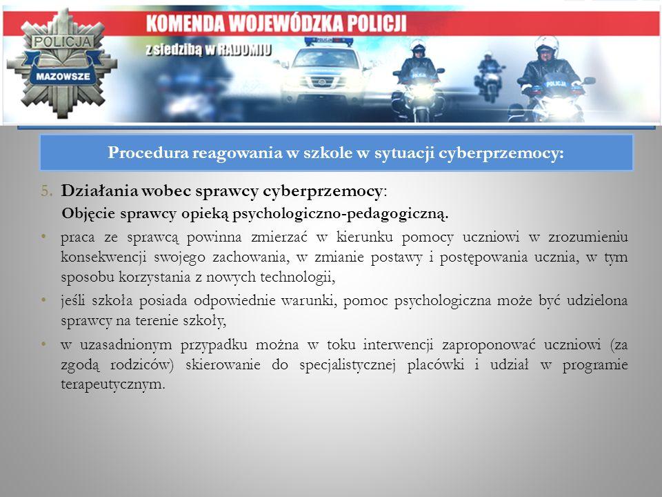 Procedura reagowania w szkole w sytuacji cyberprzemocy: