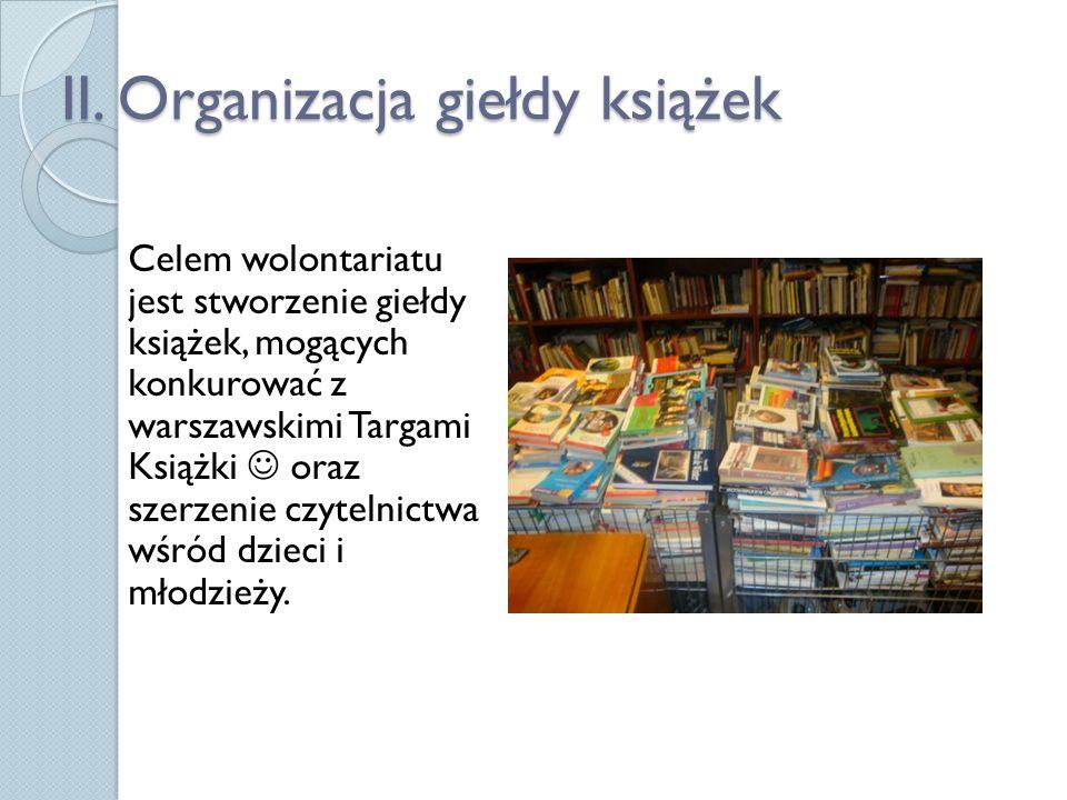 II. Organizacja giełdy książek